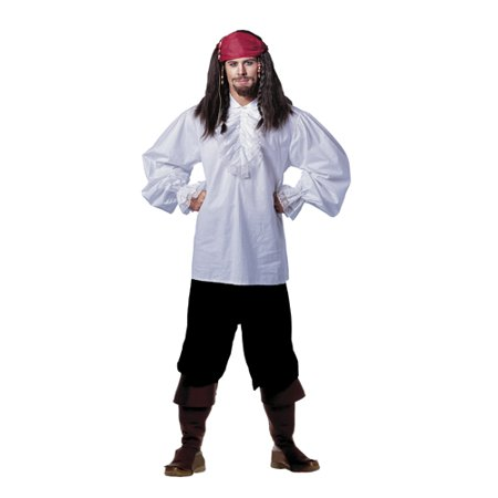 Mens White Ruffled Jack Sparrow Shirt (UP TO - Jack Sparrow Costume For Kids