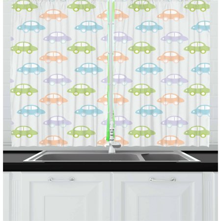 (Kids Curtains 2 Panels Set, Cute Cars Pastel Colored Automobiles Boys City Joyful Game Toys Childhood Inspired, Window Drapes for Living Room Bedroom, 55W X 39L Inches, Multicolor, by Ambesonne)