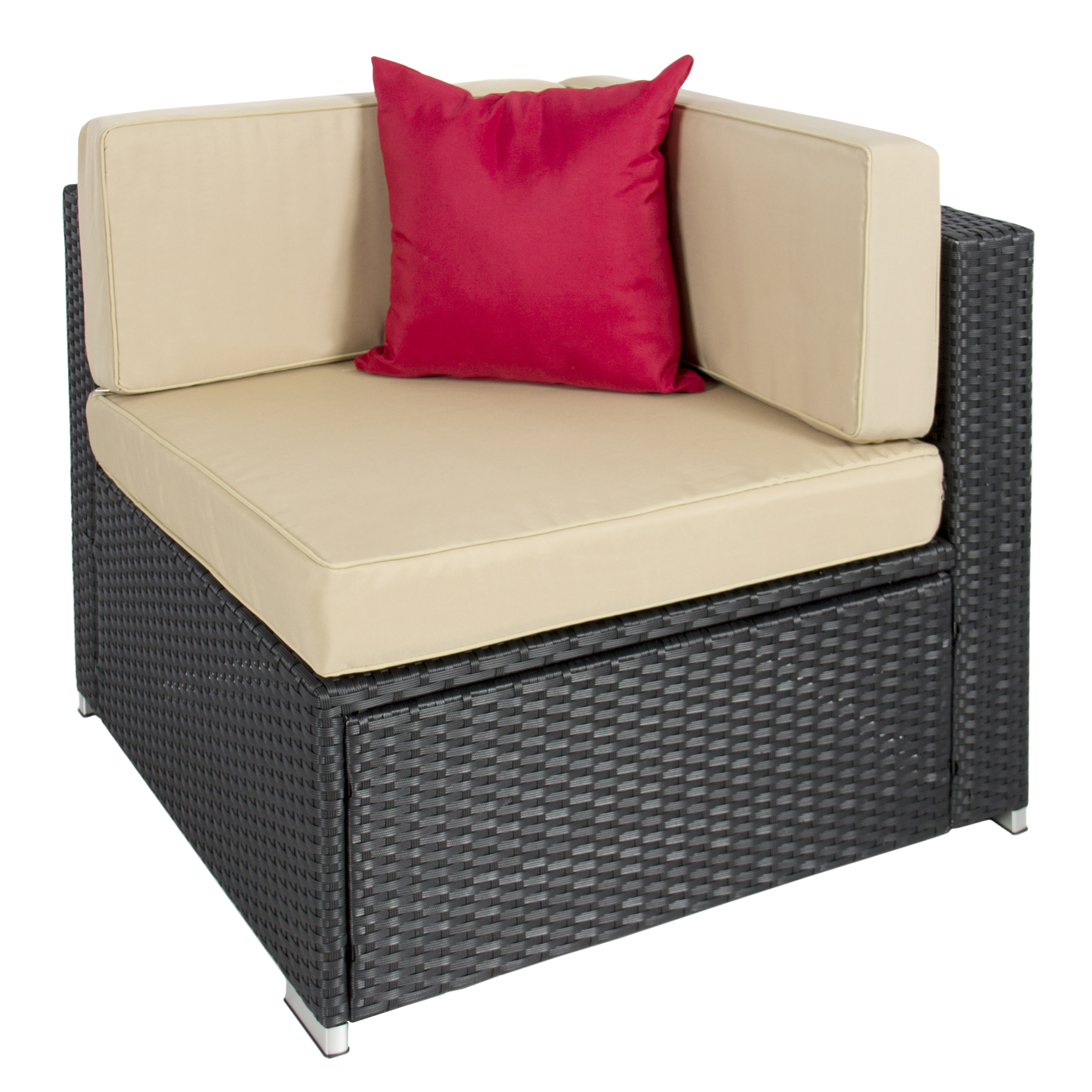 best choice products 7pc outdoor patio garden wicker furniture rattan sofa set image 5 of 7