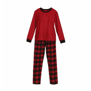 Christmas Family Matching Pajamas Set Basic Red Tops and Plaid Pants Xmas Sleepwear Homewear Set