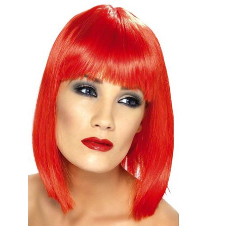 Short Neon Red Glamourama 80's Punk Rock Adult Costume Wig for $<!---->