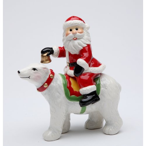 Cosmos Gifts Santa Riding on The Polar Bear Salt and Pepper Set
