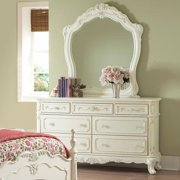 Tribecca Home Fairytale Victorian Princess White Dresser and Mirror by