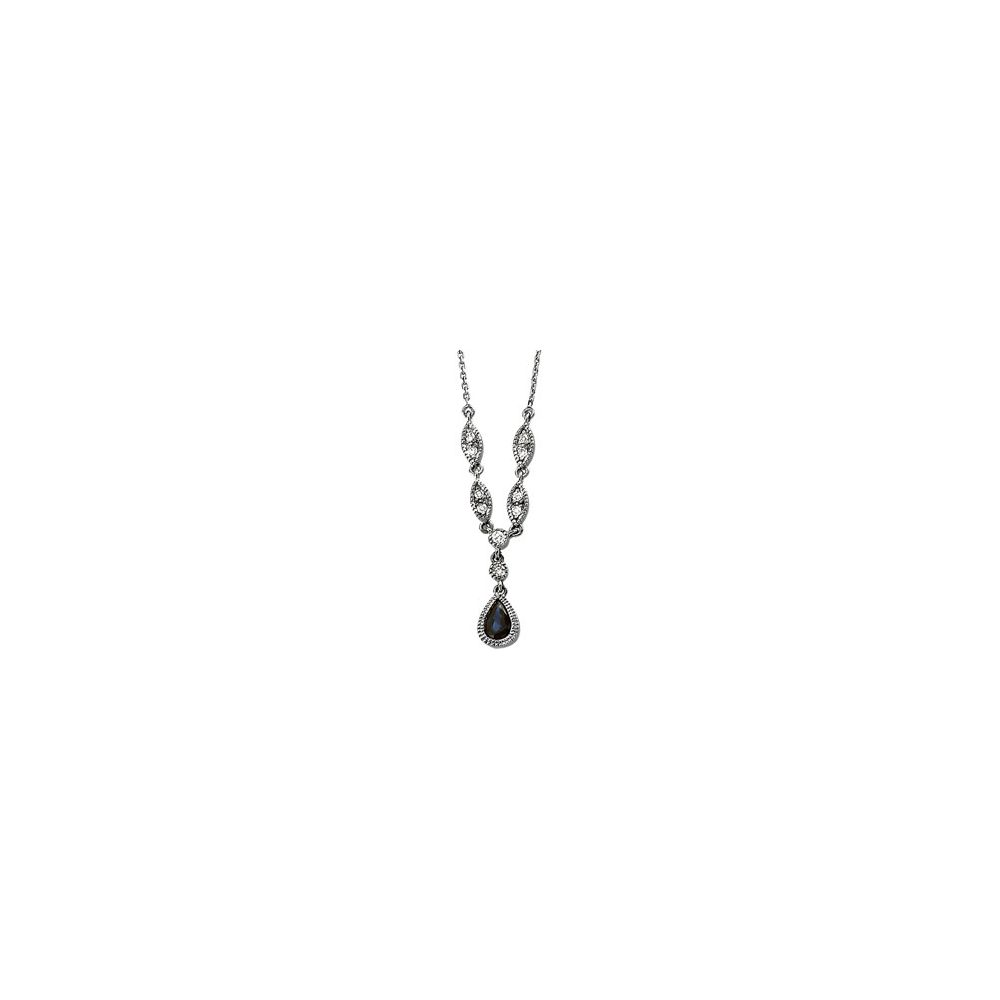 14k White 6x4mm 0.17 Dwt Sapphire and Diamond Necklace by