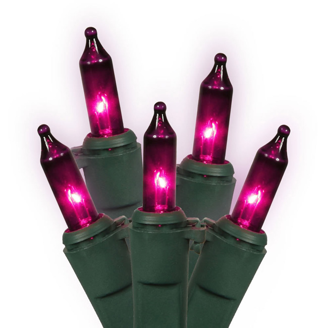 Set of 50 Pink-Purple Mini Christmas Lights - Green Wire