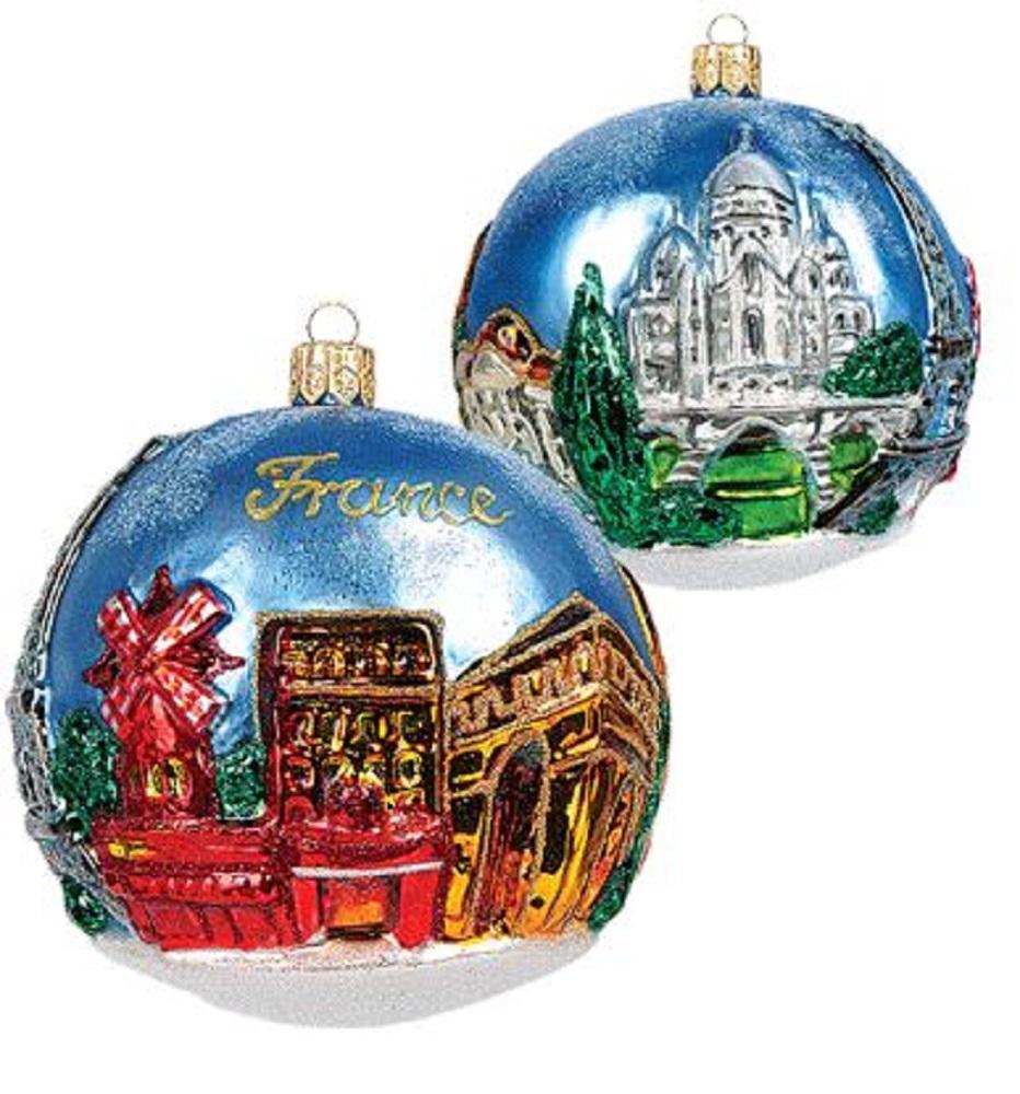 France Figural Scenery Ball Polish Glass Christmas ...
