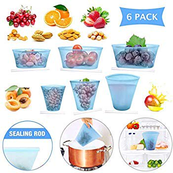 6 Pack Reusable Silicone Food Bag, Zip Lock Containers BPA Free Leakproof Cup Dishes Storage Bags for Fruit/Snack/Vegetables, Microwave Dishwasher & Freezer Safe (Blue).