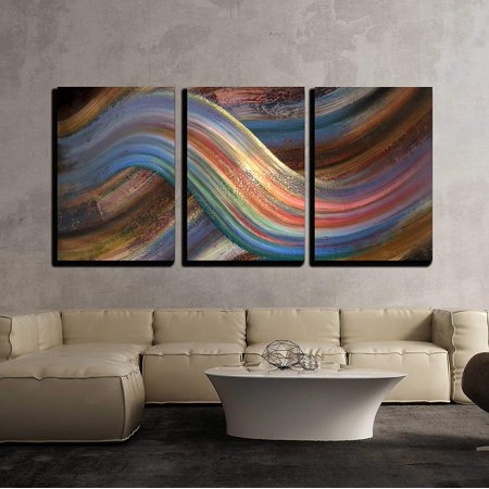 wall26 - 3 Piece Canvas Wall Art - Abstract Picture Showing a Symbolic Alternating Scenery - Modern Home Decor Stretched and Framed Ready to Hang - 16