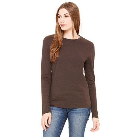 77bf402e112c Bella 6500 Womens Jersey Long Sleeve Tee - Chocolate, Large - image 1 of 1  ...