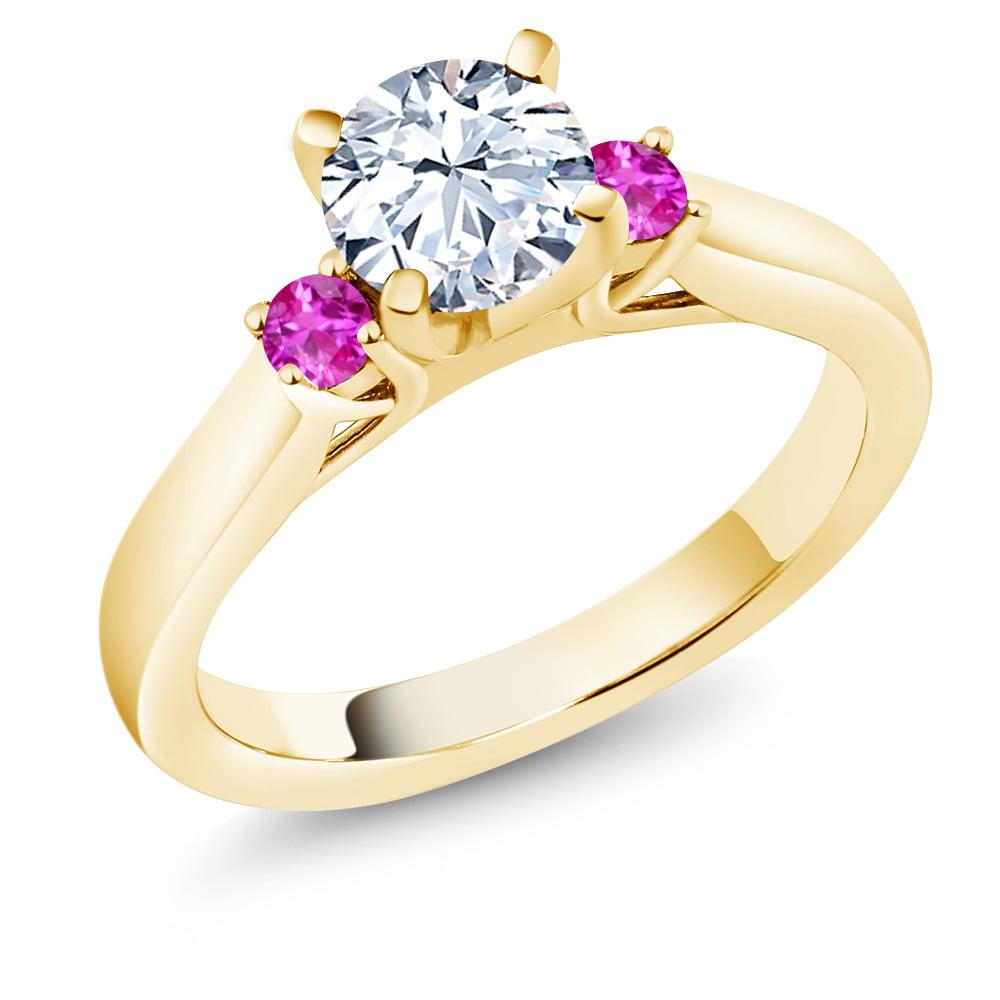 1.76 Ct Round White Zirconia Pink Sapphire 14K Yellow Gold 3-Stone Ring by