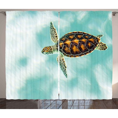 Turtle Curtains 2 Panels Set, Cute Baby Turtle Swimming in Abstract Waters Serene Nature Picture, Window Drapes for Living Room Bedroom, 108W X 63L Inches, Seafoam Brown Pale Coffee, by Ambesonne ()