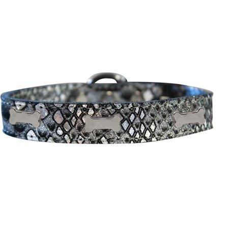 Silver Bones Leather Collar (Silver Bone Widget Dragon Skin Genuine Leather Dog Collar Silver Size 14 )