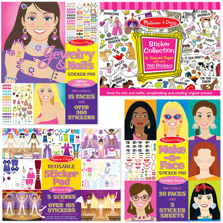 Image of Melissa & Doug Sticker Pads Set: Jewelry and Nails, Dress-Up, Make-a-Face, Favorite Themes - 1225+ Stickers