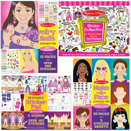 Melissa & Doug Sticker Pads Set: Jewelry and Nails, Dress-Up, Make-a-Face, Favorite Themes - 1225+ - Themes To Dress Up As