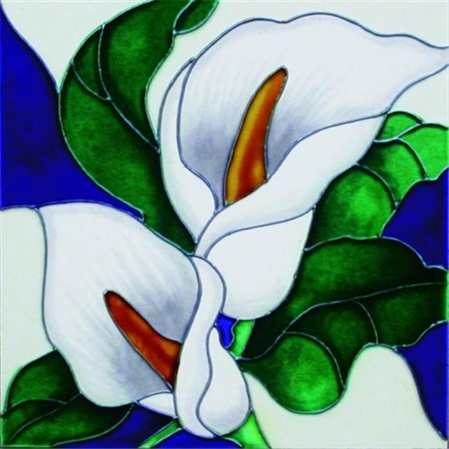 En Vogue B-72 Calla Lilies - Decorative Ceramic Art Tile - 8 inch x 8 inch