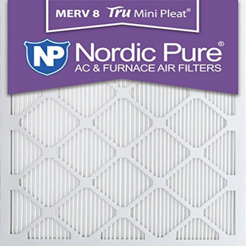Nordic Pure 16x25x1M8MiniPleat-12 Mini Pleat MERV 8 AC Fu...