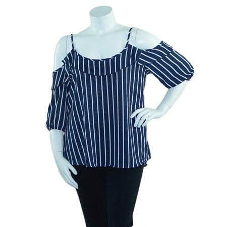 Length Cut Out - Fashion House LA Women's Plus Size Cold Shoulder Striped Woven Blouse Top Cut Out 3/4 Length Sleeves Navy/White Single Stripe 1X