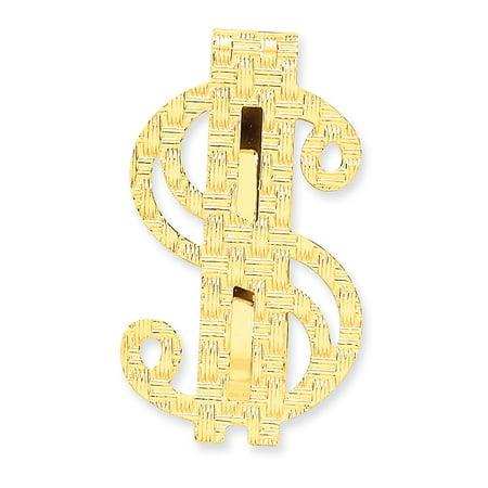 Lex & Lu 14k Yellow Gold Polished Dollar Sign Money Clip 14k Gold Money Sign