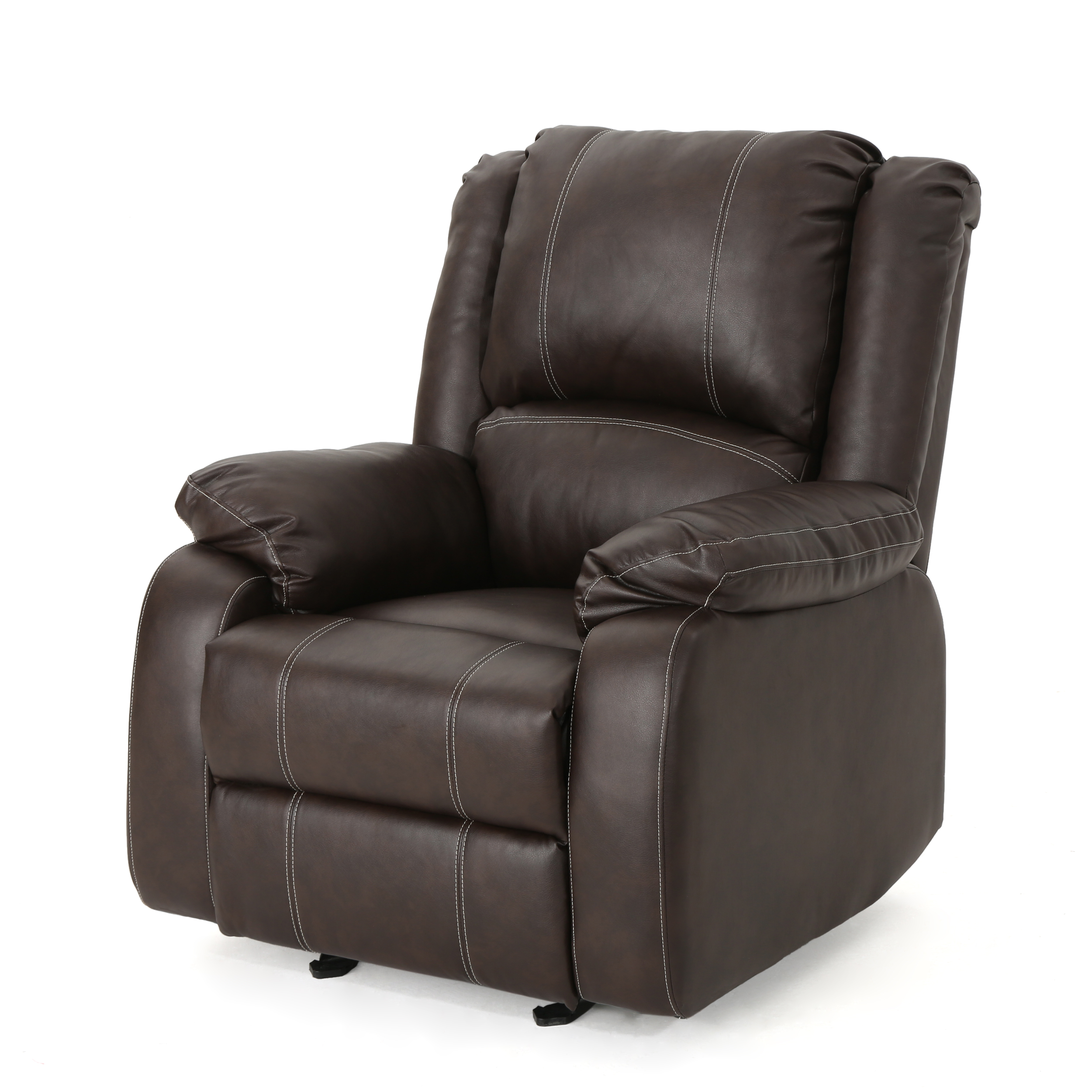 Tammy Traditional Leather Recliner, Dark Brown
