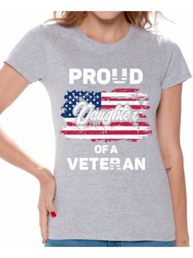 b2e540abbf1c6 Product Image Awkward Styles Proud Daughter of a Veteran Women Shirt  Daughter Gifts Vintage USA Tshirt for Daughter