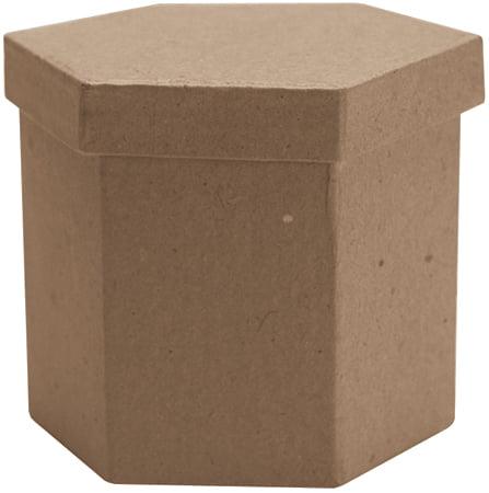 "Paper-Mache Tall Hexagon Box-3""X3""X3"""