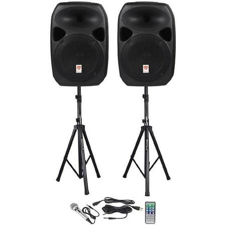 rockville rpg122k dual 12 powered speakers bluetooth mic speaker stands cables. Black Bedroom Furniture Sets. Home Design Ideas