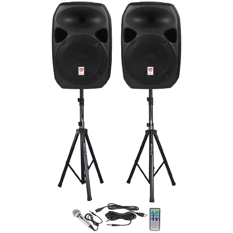 "Rockville RPG122K Dual 12"" Powered Speakers, Bluetooth, Mic, Speaker Stands, Cables"