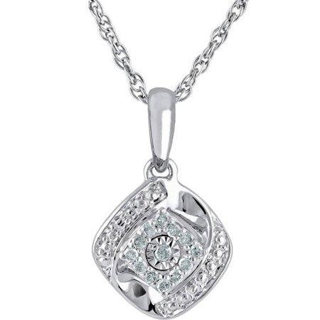 ONLINE - 1/10 Carat T W Diamond Sterling Silver Cushion