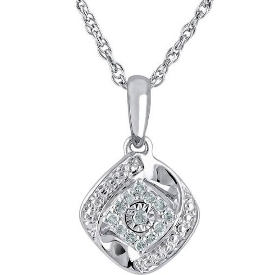 ONLINE - 1/10 Carat T W Diamond Sterling Silver Cushion Pendant and