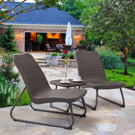 Gymax 3 Piece All Weather Patio Garden Outdoor Conversation Chair