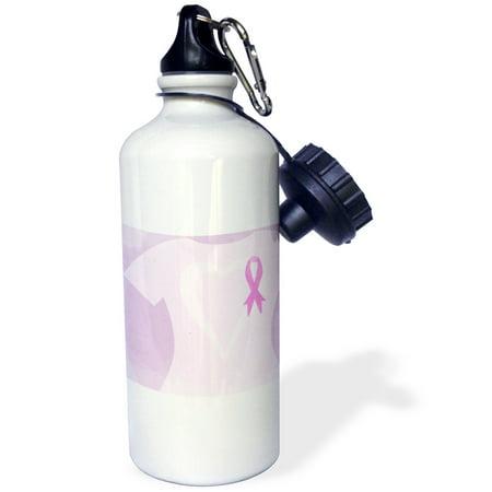 3dRose Pink Ribbon T Shirt Breast Cancer Awareness, Sports Water Bottle, 21oz