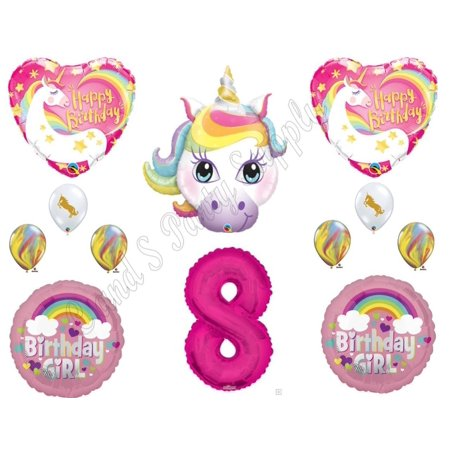 8th RAINBOW UNICORN Happy Birthday Party Balloons Decoration Pink Purple Girl