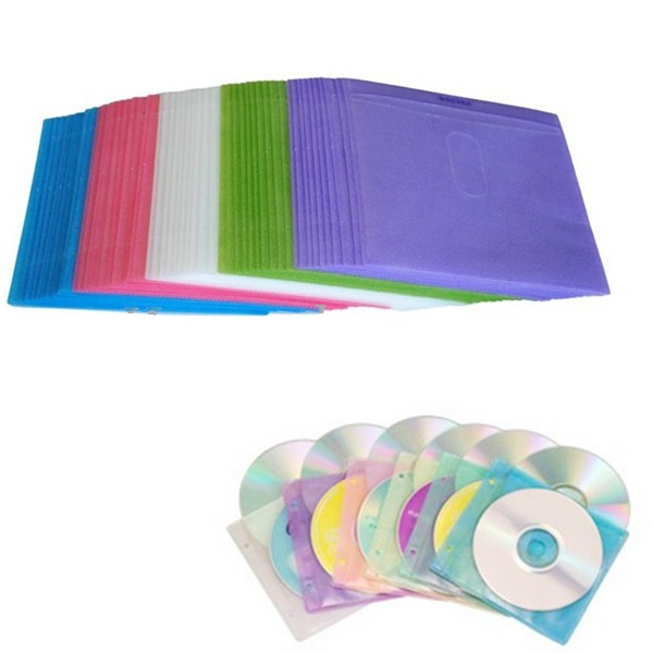 CD/DVD  sleeves,Asewin 100PCS CD DVD Double Sided Cover Storage Case PP Bag Sleeve Envelope Holder