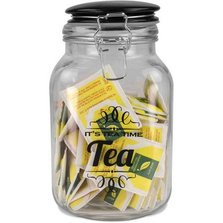 Home Basics Glass Jar with Ceramic Flip Lid Top ()