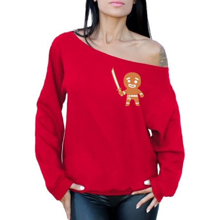 Awkward Styles Gingerbread Man Ninja Pocket Christmas Sweatshirt Off The Shoulder Gingerbread Christmas Ugly Sweater for Women Xmas Off Shoulder Sweater Funny Holiday Gifts for Her Ugly Xmas Sweater](Funny Tacky Christmas Sweaters)
