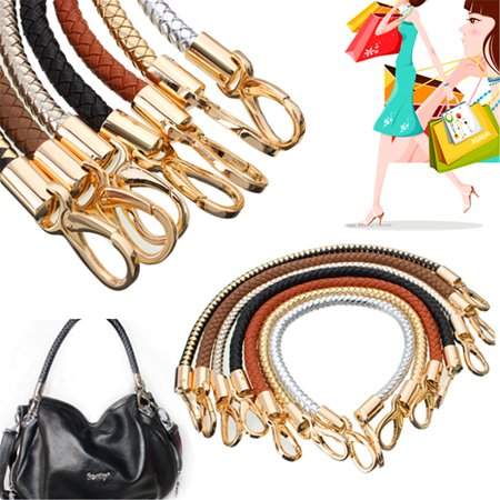 New Convenient Round DIY Purse Handle Shoulder Bags Handbag Strap Replacement PU Leather Braided Belt 49cm Woven rope
