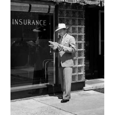 Man Holding Documents Standing In Front Of Insurance Company Canvas Art     24 X 36