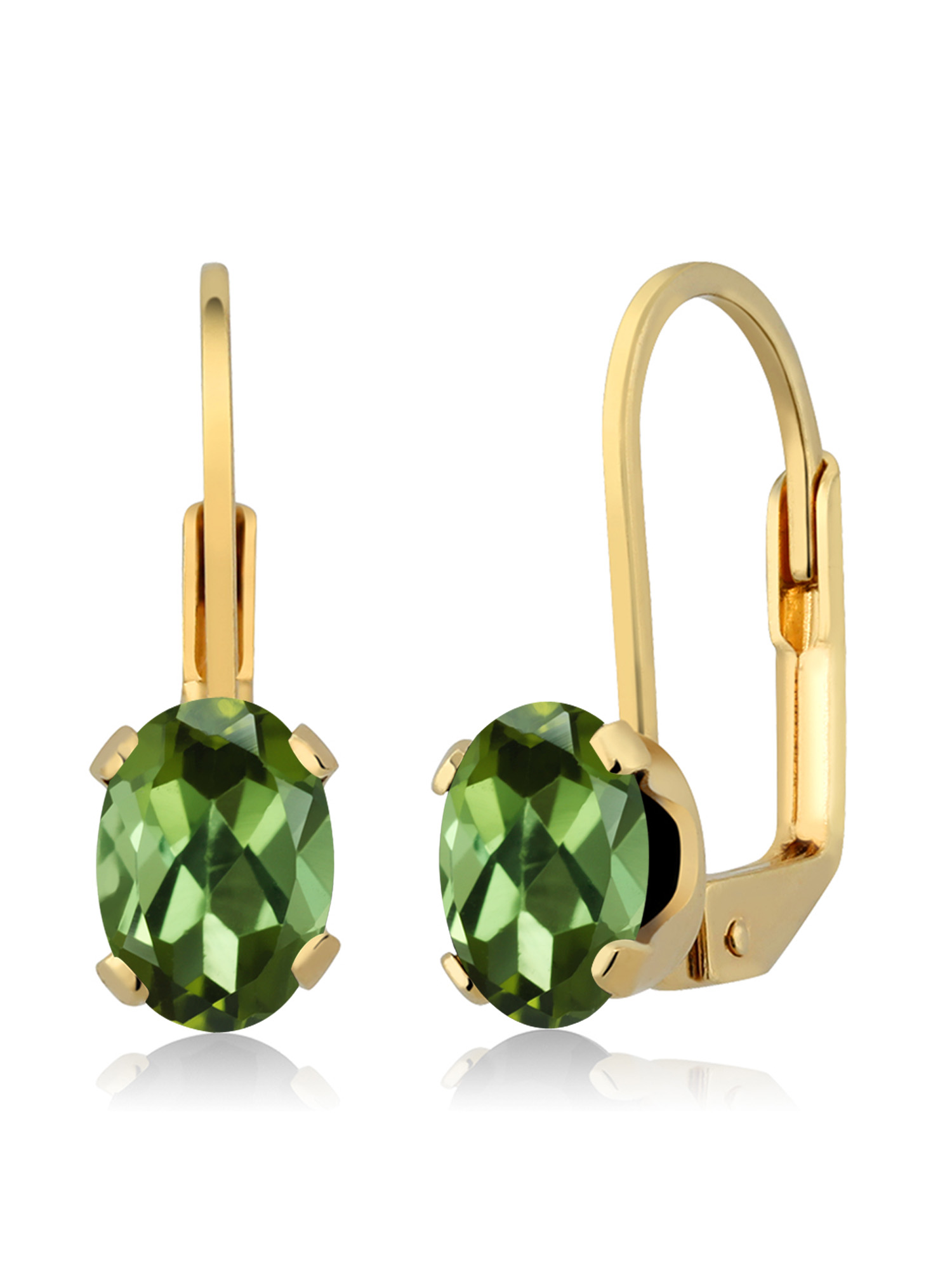 1.40 Ct Oval Green Tourmaline 14K Yellow Gold Earrings by