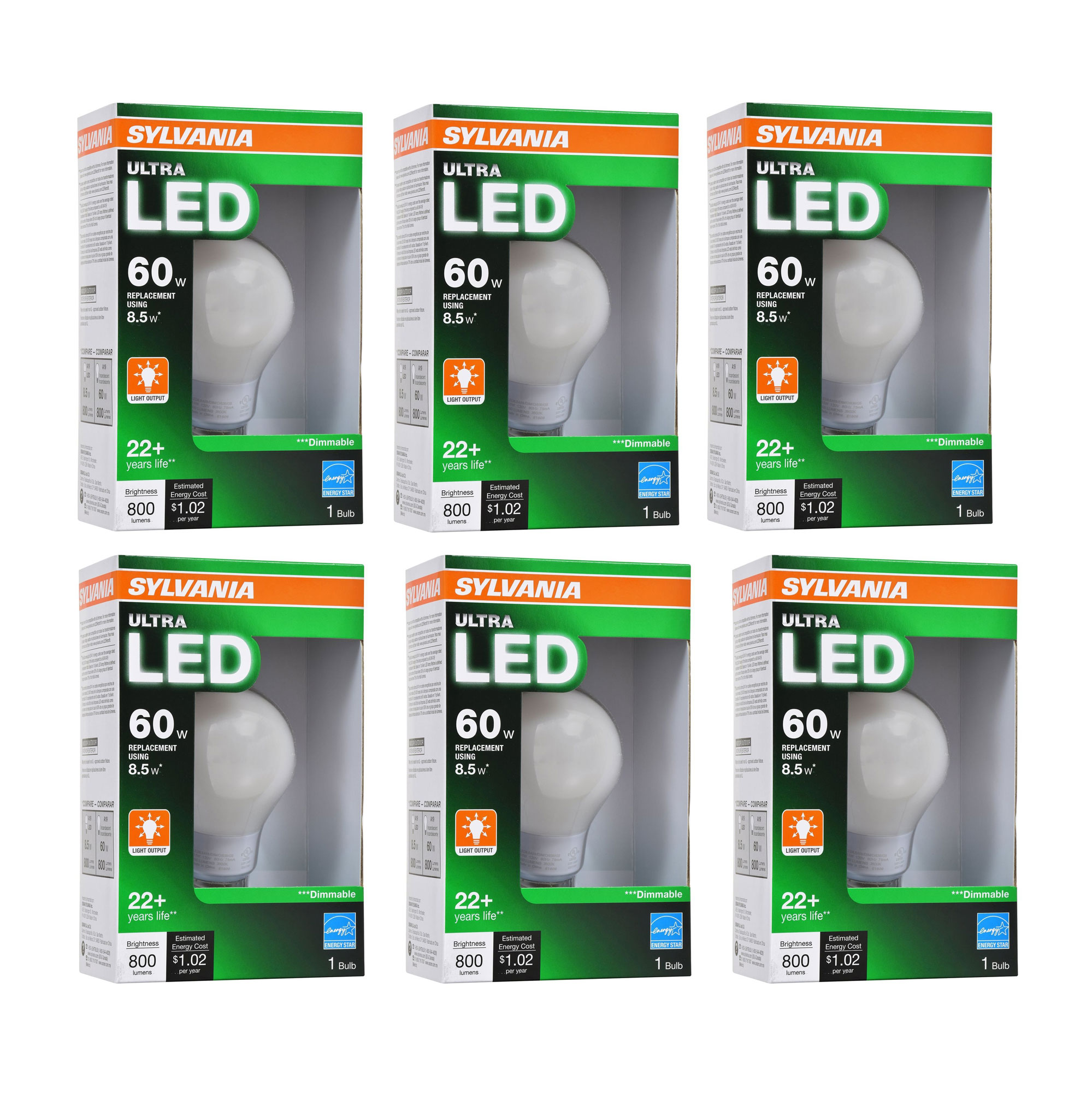 Sylvania Ultra 60W 2700K Dimmable Soft White Energy Star LED Light Bulb, 6 Pack