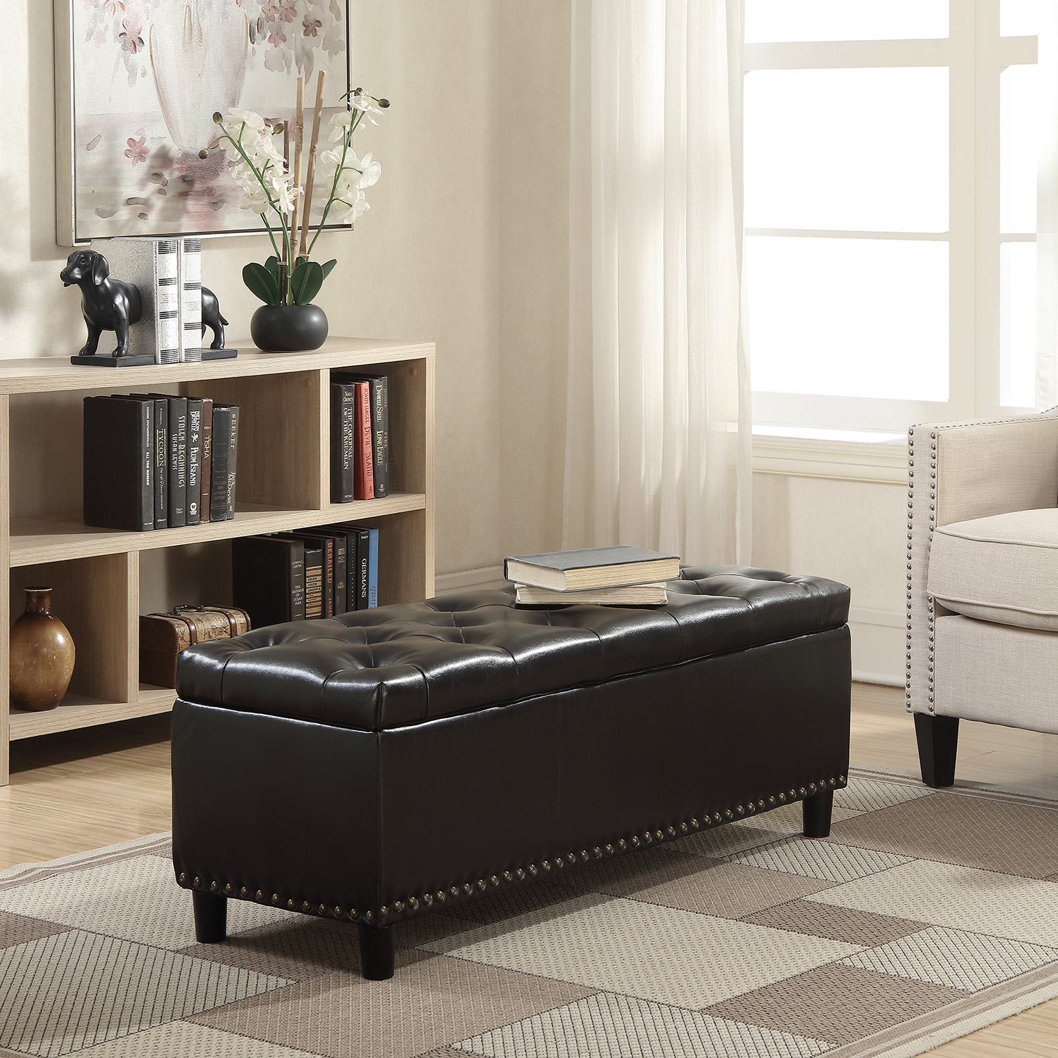 "Belleze 48"" Rectangular Faux Leather Storage Ottoman Bench Footrest, Large Space Footrest, Brown"