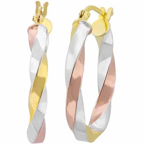 Sterling Silver and 18kt Gold and Rose Over Sterling Silver Twist Hoop Earrings