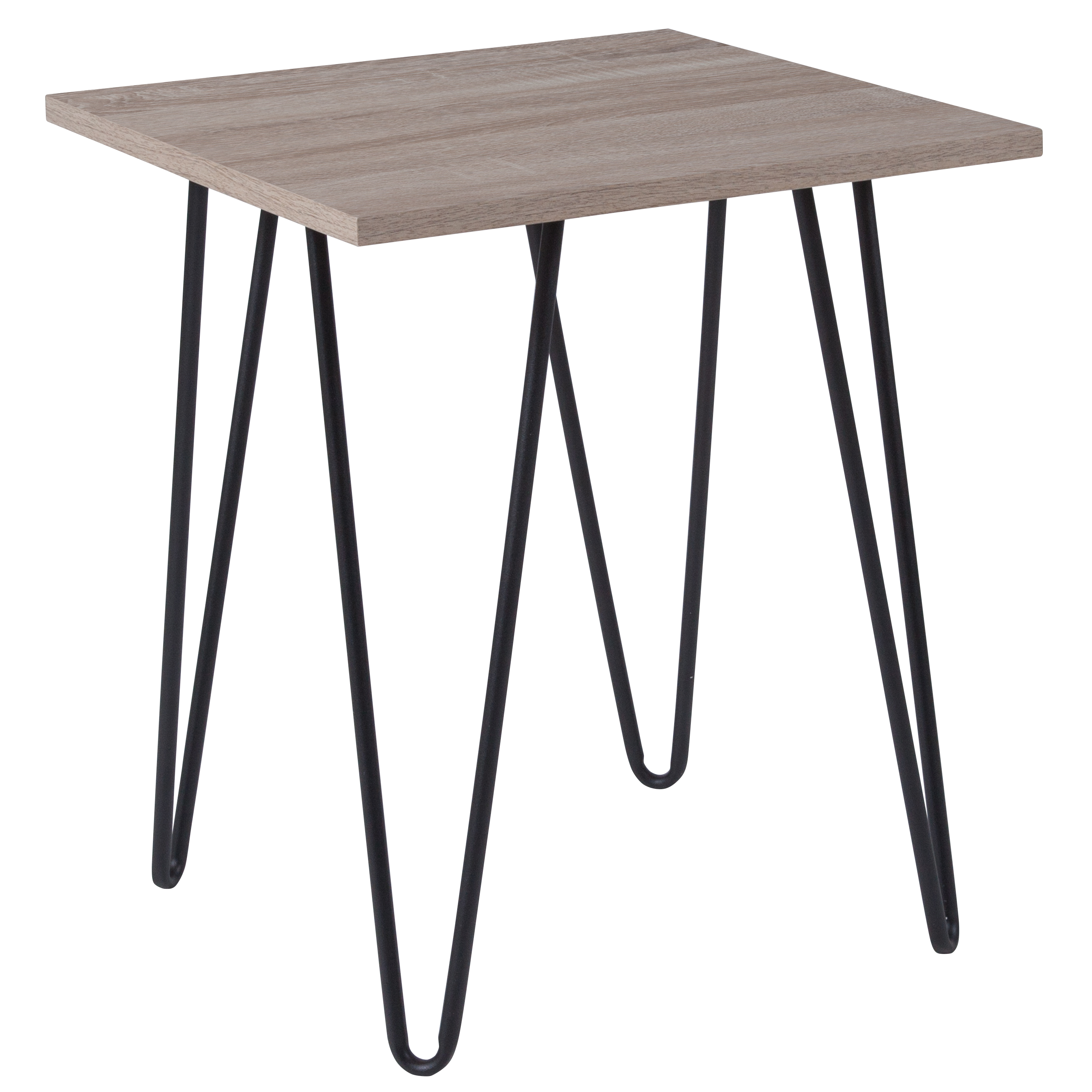 Flash Furniture Oak Park Collection Driftwood Wood Grain Finish End Table with Black Metal Legs
