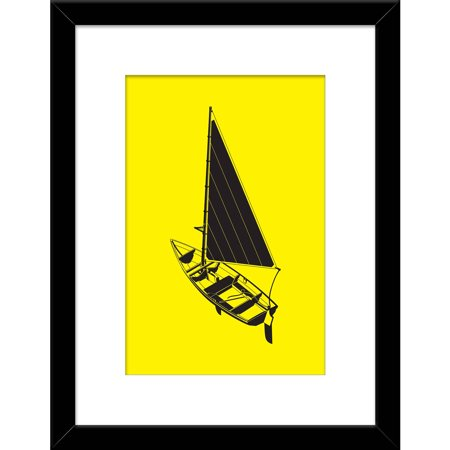 Black And Yellow Boat 14  X 18  Wall Art