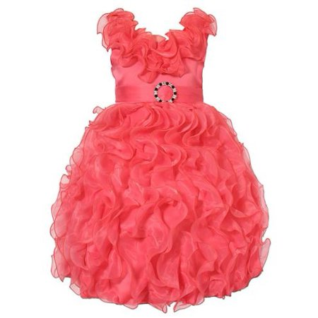 Richie House Little Girls Coral Cascade Ruffle Bridal Dress 3/4