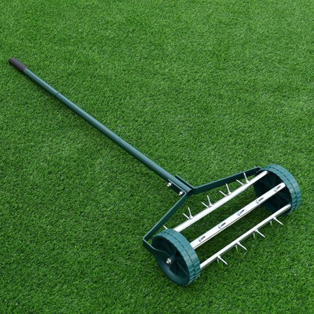 Gymax Rolling Garden Lawn Aerator Roller Home Grass Steel