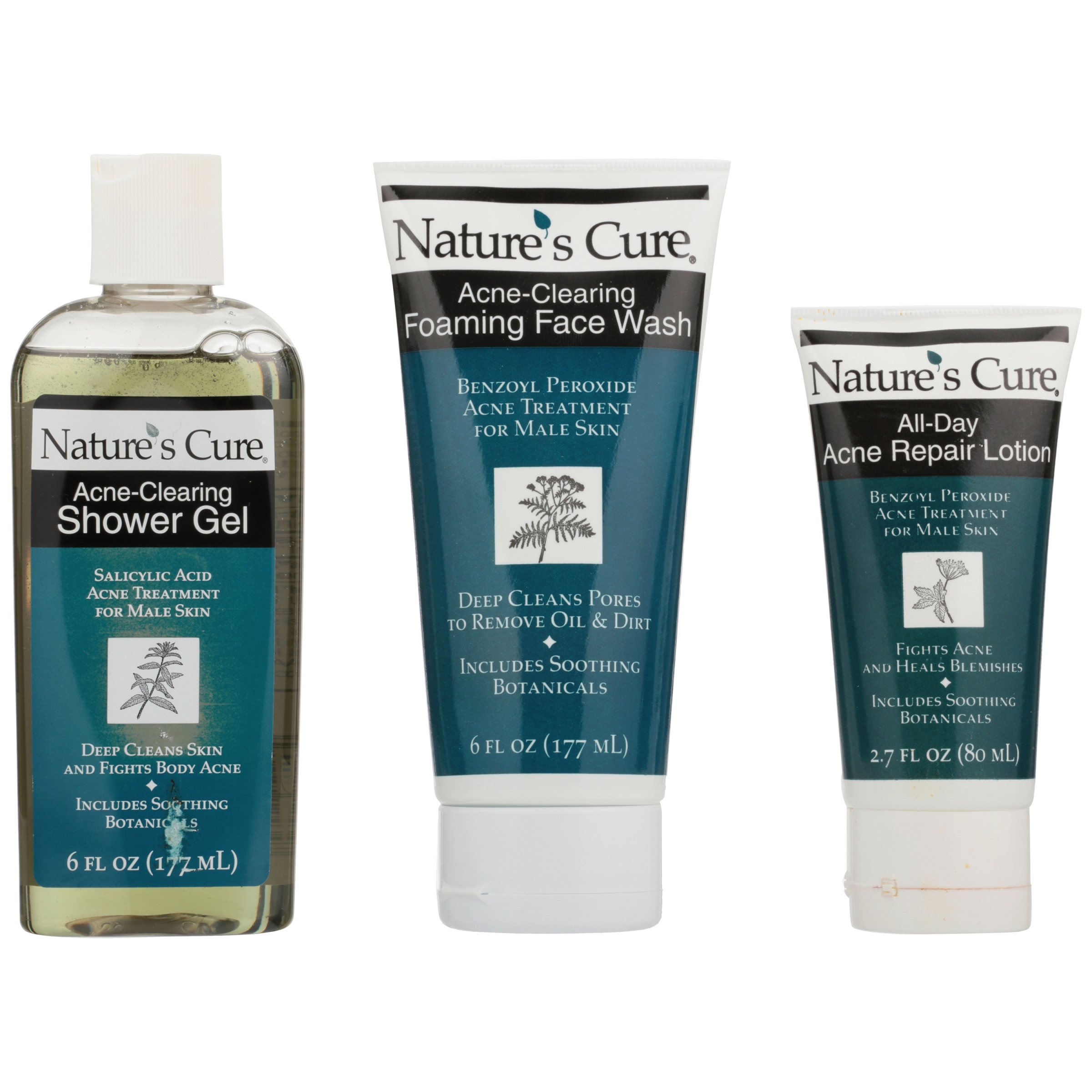 Nature's Cure® Anti-Acne Face & Body Shower Kit 3 pc Pack