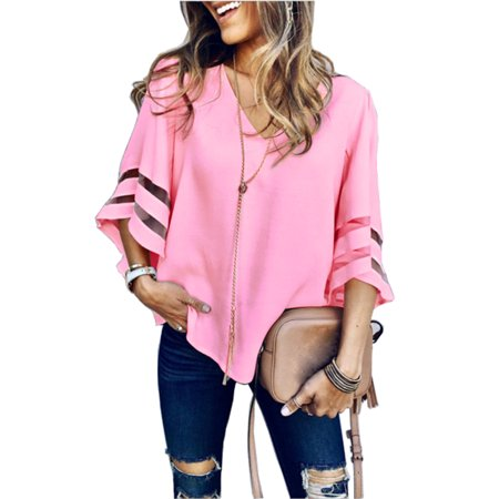 Women Blouse Tops Lace Patchwork 3/4 Bell Long Sleeve V Neck Casual Chiffon Loose Shirt - Madras Patchwork Shirt