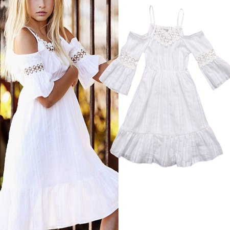 Summer Princess Dress Girls Kids Baby Off-Shoulder Party Wedding Pageant Lace Dresses Clothes Beachwear](Party Dress Kids)