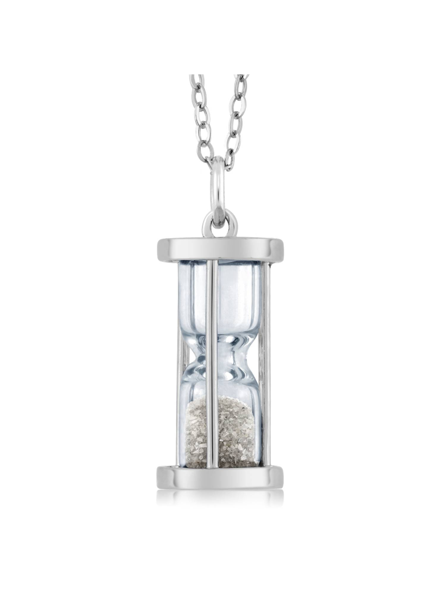 """Gem Stone King Sterling Silver Hourglass Pendant with 0.50 Ct Diamond Dust & 18"""" Chain"""