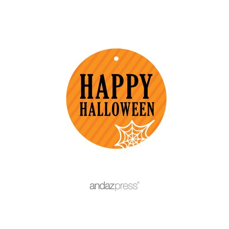 Happy Halloween Orange Black & Orange Halloween Thank You Round Gift Tags, 24-Pack](Business Halloween)